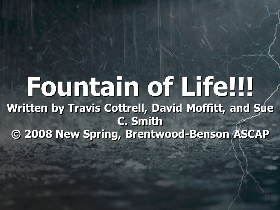 Fountain of Life!!. Written by Travis Cottrell, David Moffitt, and Sue C.