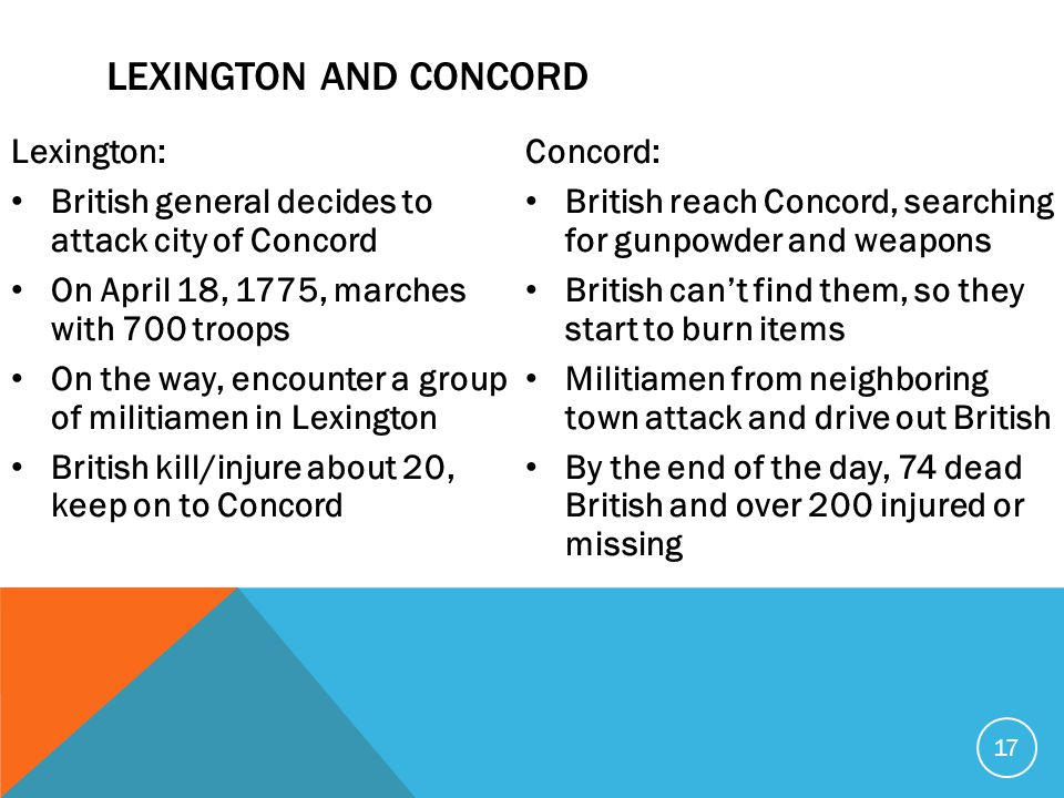 Lexington: British general decides to attack city of Concord On April 18, 1775, marches with 700 troops On the way, encounter a group of militiamen in Lexington British kill/injure about 20, keep on to Concord Concord: British reach Concord, searching for gunpowder and weapons British can't find them, so they start to burn items Militiamen from neighboring town attack and drive out British By the end of the day, 74 dead British and over 200 injured or missing 17 LEXINGTON AND CONCORD