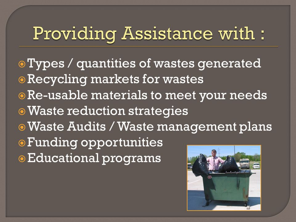 A Free, Confidential & Non-Regulatory Program Smart Waste