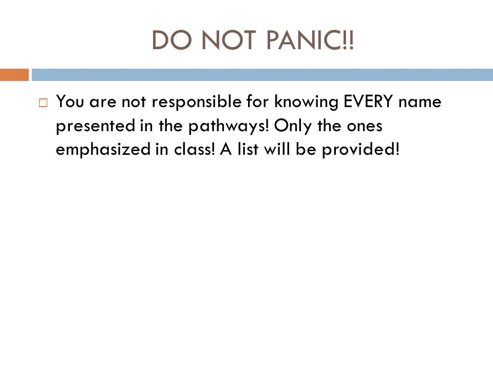 DO NOT PANIC!.  You are not responsible for knowing EVERY name presented in the pathways.
