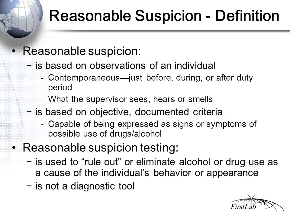 dot mandated drug and alcohol testing reasonable suspicion