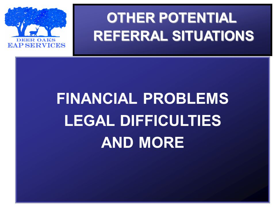 OTHER POTENTIAL REFERRAL SITUATIONS FINANCIAL PROBLEMS LEGAL DIFFICULTIES AND MORE