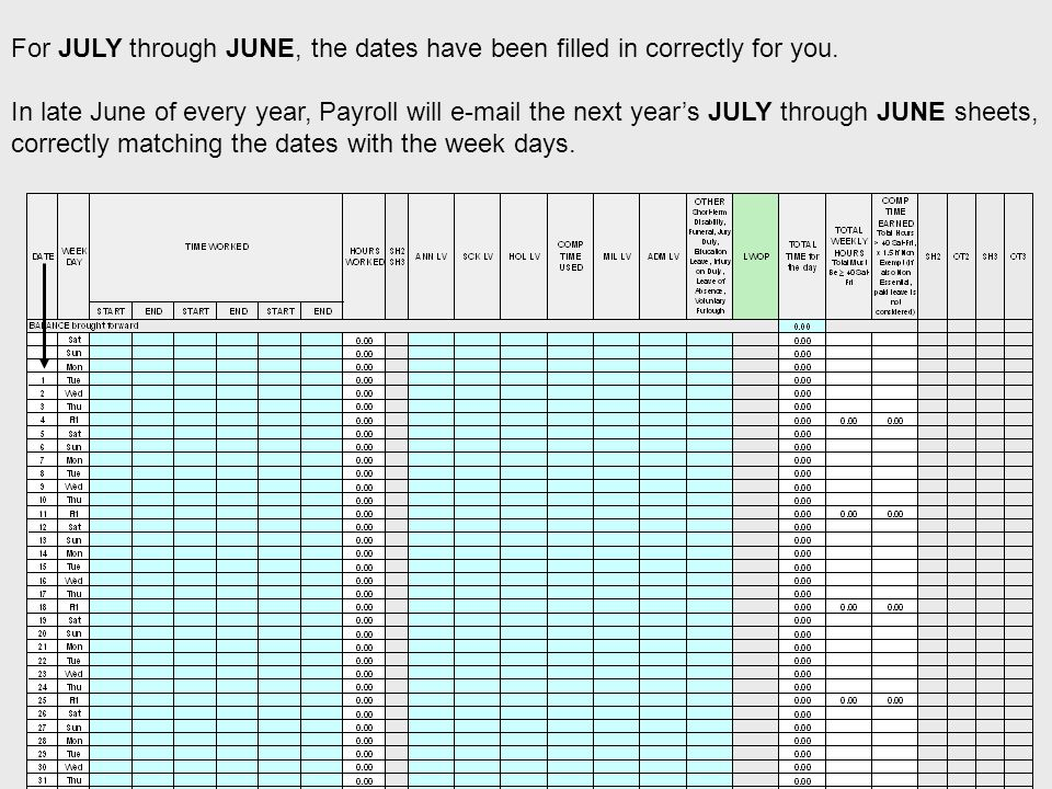 For JULY through JUNE, the dates have been filled in correctly for you.