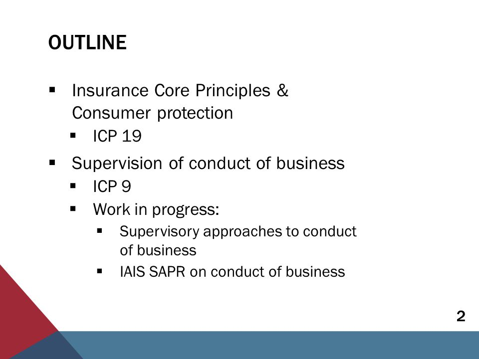 OUTLINE  Insurance Core Principles & Consumer protection  ICP 19  Supervision of conduct of business  ICP 9  Work in progress:  Supervisory approaches to conduct of business  IAIS SAPR on conduct of business 2