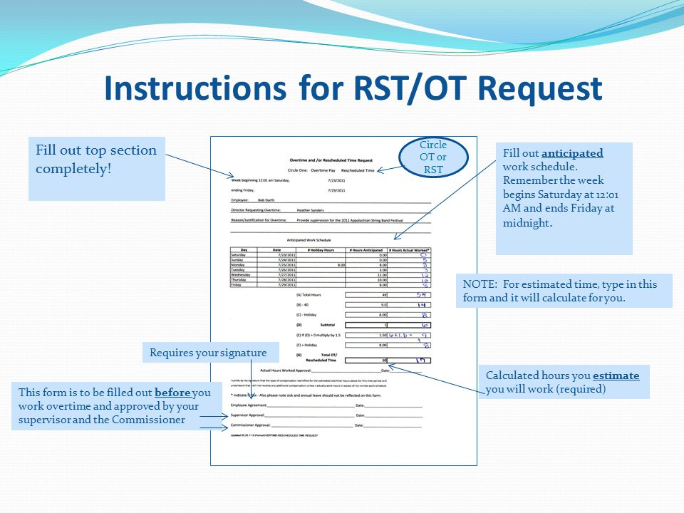 Instructions for RST/OT Request Fill out anticipated work schedule.