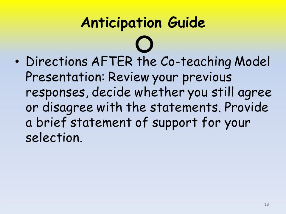 Anticipation Guide Directions AFTER the Co-teaching Model Presentation: Review your previous responses, decide whether you still agree or disagree with the statements.
