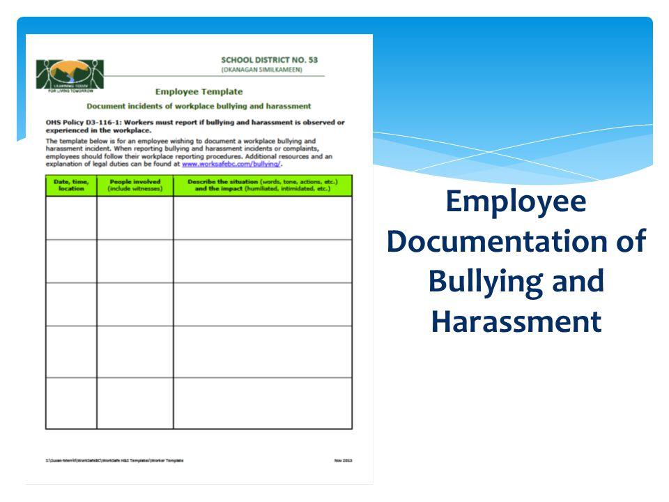 11 Employee Documentation of Bullying and Harassment