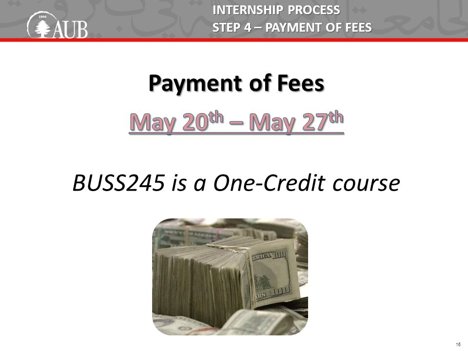 INTERNSHIP PROCESS STEP 4 – PAYMENT OF FEES 16