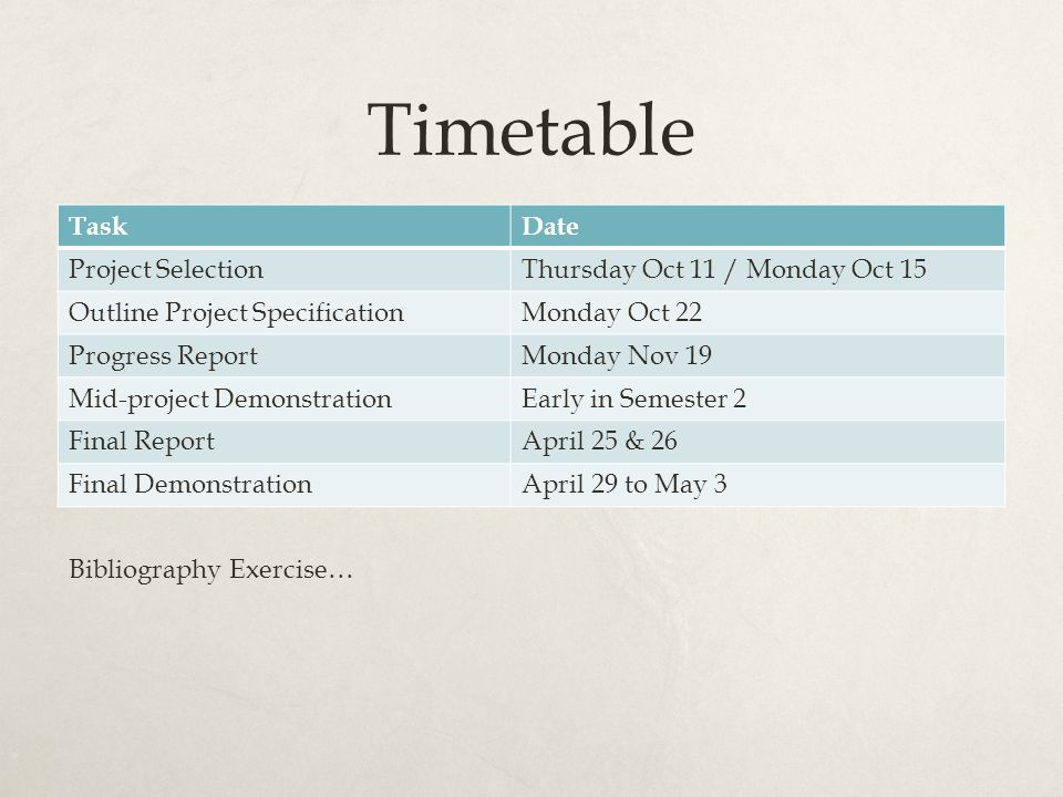 Timetable TaskDate Project SelectionThursday Oct 11 / Monday Oct 15 ...