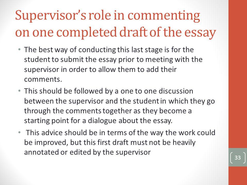 being a supervisor essay