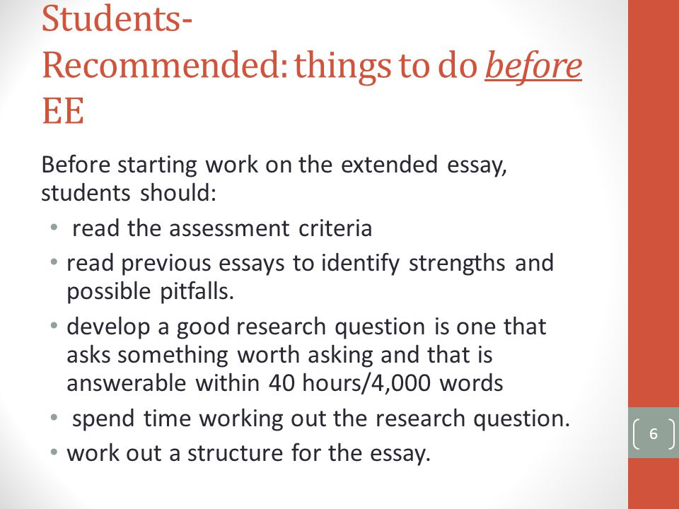 Topics For A Proposal Essay Students Recommended Things To Do Before Ee Before Starting Work On The Extended  Essay My English Class Essay also Computer Science Essay Topics Extended Essay Overview Jackson High  What Is The Extended Essay  Help With Essay Papers