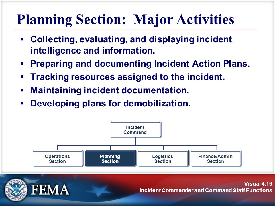 Visual 4.16 Incident Commander and Command Staff Functions Planning Section: Major Activities  Collecting, evaluating, and displaying incident intelligence and information.