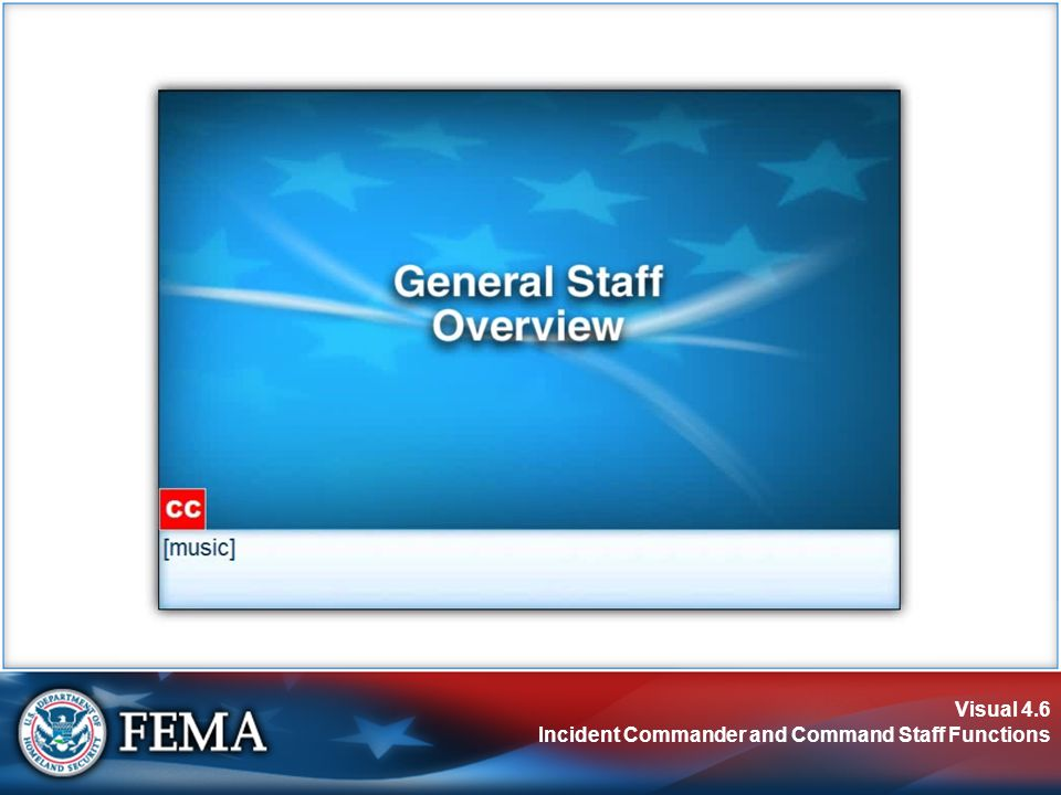 Visual 4.6 Incident Commander and Command Staff Functions