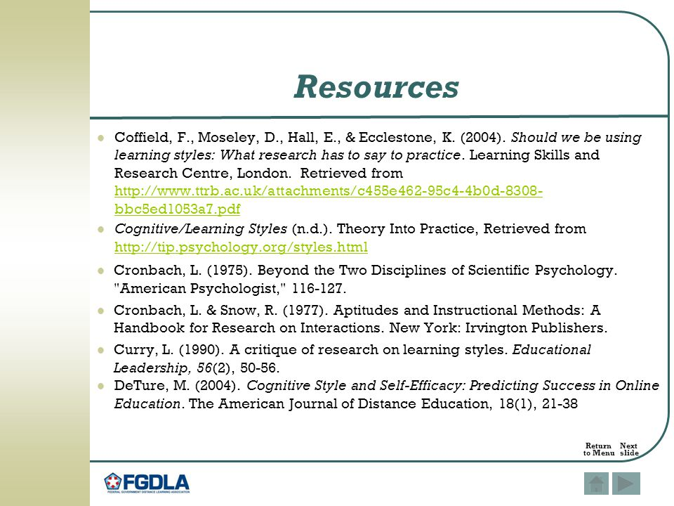 research paper on learning styles pdf