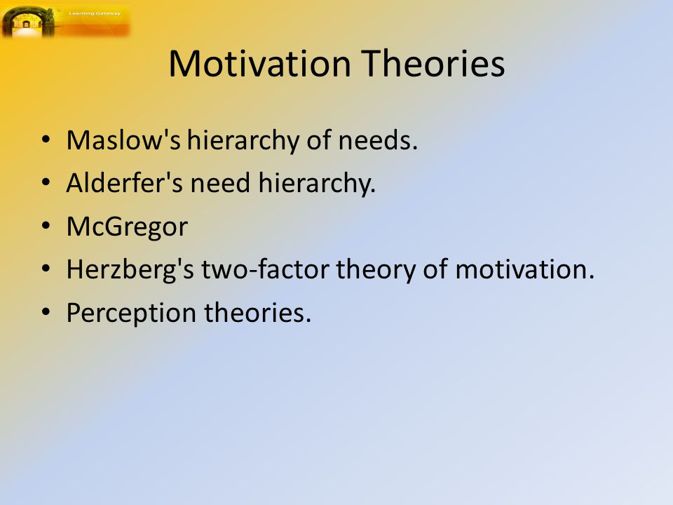 Motivation Theories Maslow s hierarchy of needs. Alderfer s need hierarchy.