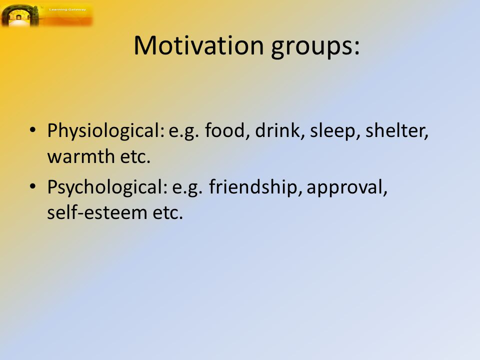 Motivation groups: Physiological: e.g. food, drink, sleep, shelter, warmth etc.