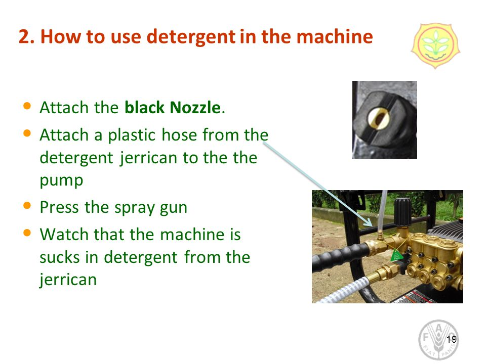 2. How to use detergent in the machine Attach the black Nozzle.
