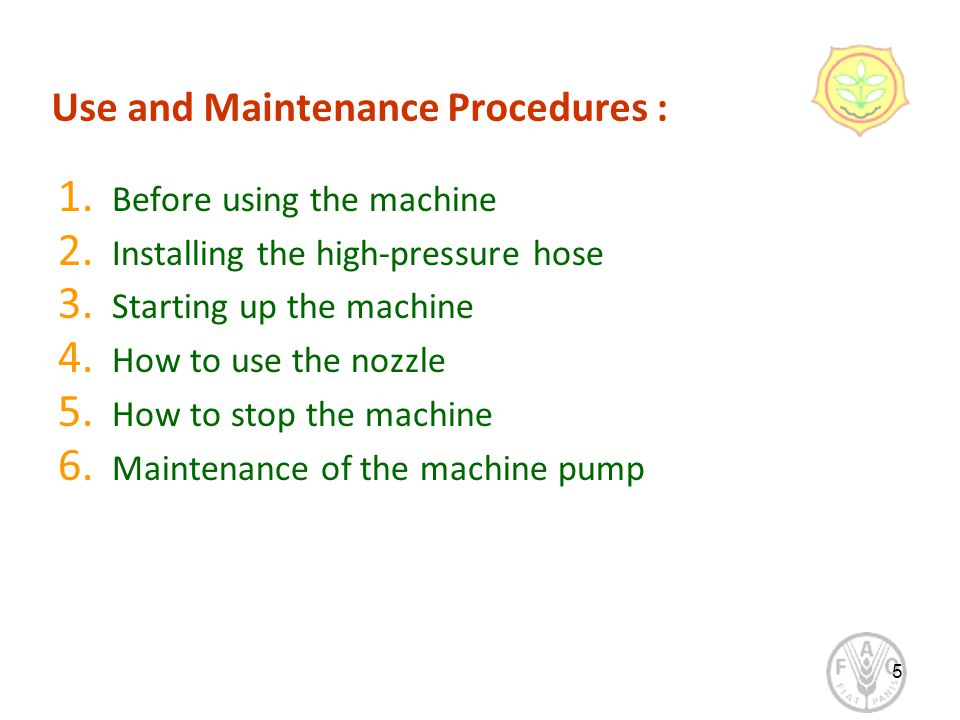 Use and Maintenance Procedures : 1. Before using the machine 2.