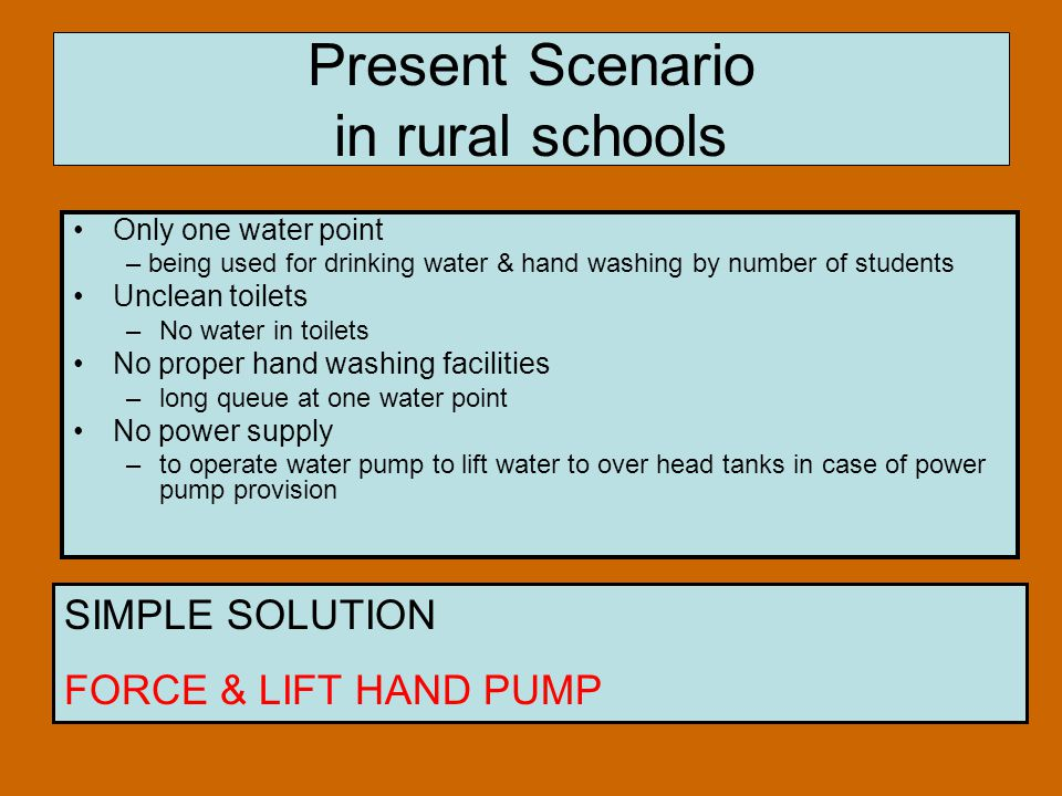 Present Scenario in rural schools Only one water point – being used for drinking water & hand washing by number of students Unclean toilets –No water in toilets No proper hand washing facilities –long queue at one water point No power supply –to operate water pump to lift water to over head tanks in case of power pump provision SIMPLE SOLUTION FORCE & LIFT HAND PUMP