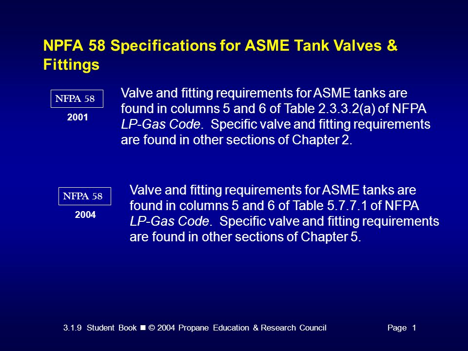 3.1.9 Student Book © 2004 Propane Education & Research CouncilPage 1 NPFA 58 Specifications for ASME Tank Valves & Fittings NFPA Valve and fitting requirements for ASME tanks are found in columns 5 and 6 of Table (a) of NFPA LP-Gas Code.