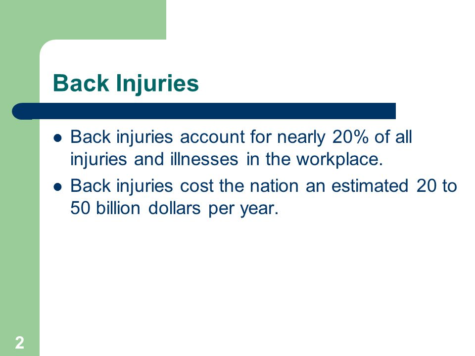 2 Back Injuries Back injuries account for nearly 20% of all injuries and illnesses in the workplace.