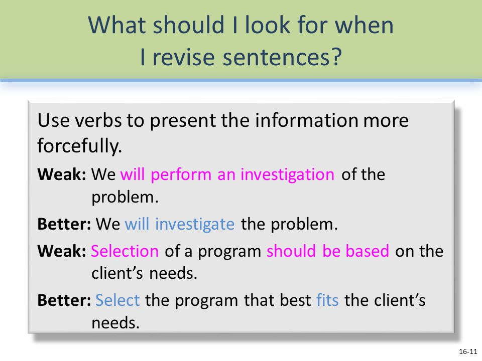 What should I look for when I revise sentences.