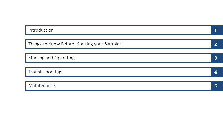 Introduction Things to Know Before Starting your Sampler Starting and Operating Troubleshooting Maintenance