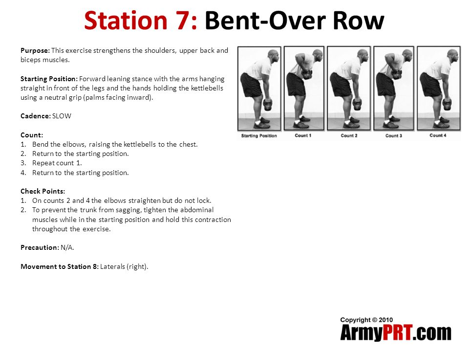 Station 7: Bent-Over Row Purpose: This exercise strengthens the shoulders, upper back and biceps muscles.