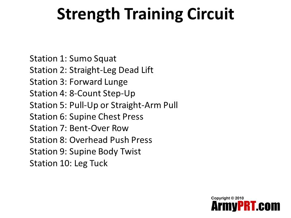 Strength Training Circuit Station 1: Sumo Squat Station 2: Straight-Leg Dead Lift Station 3: Forward Lunge Station 4: 8-Count Step-Up Station 5: Pull-Up or Straight-Arm Pull Station 6: Supine Chest Press Station 7: Bent-Over Row Station 8: Overhead Push Press Station 9: Supine Body Twist Station 10: Leg Tuck