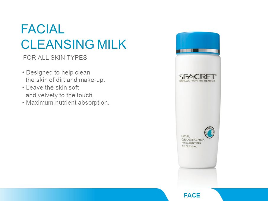 FACIAL CLEANSING MILK FACE Designed to help clean the skin of dirt and make-up.
