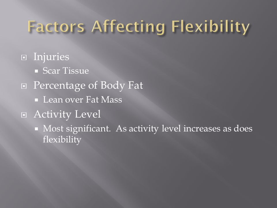  Injuries  Scar Tissue  Percentage of Body Fat  Lean over Fat Mass  Activity Level  Most significant.
