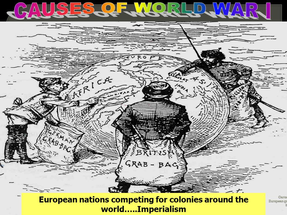 Cartoon- European grab bag European nations competing for colonies around the world…..Imperialism