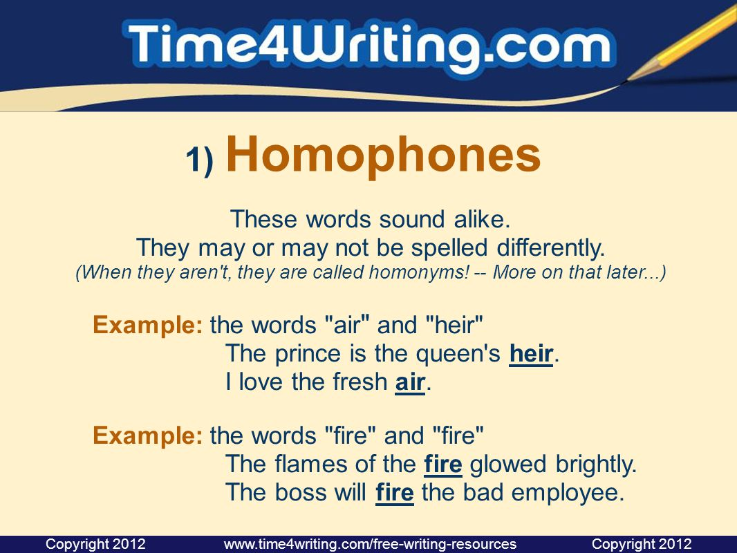 Workbooks homonyms worksheets middle school : Homophones, Homonyms, Homographs Time4Writing provides these ...