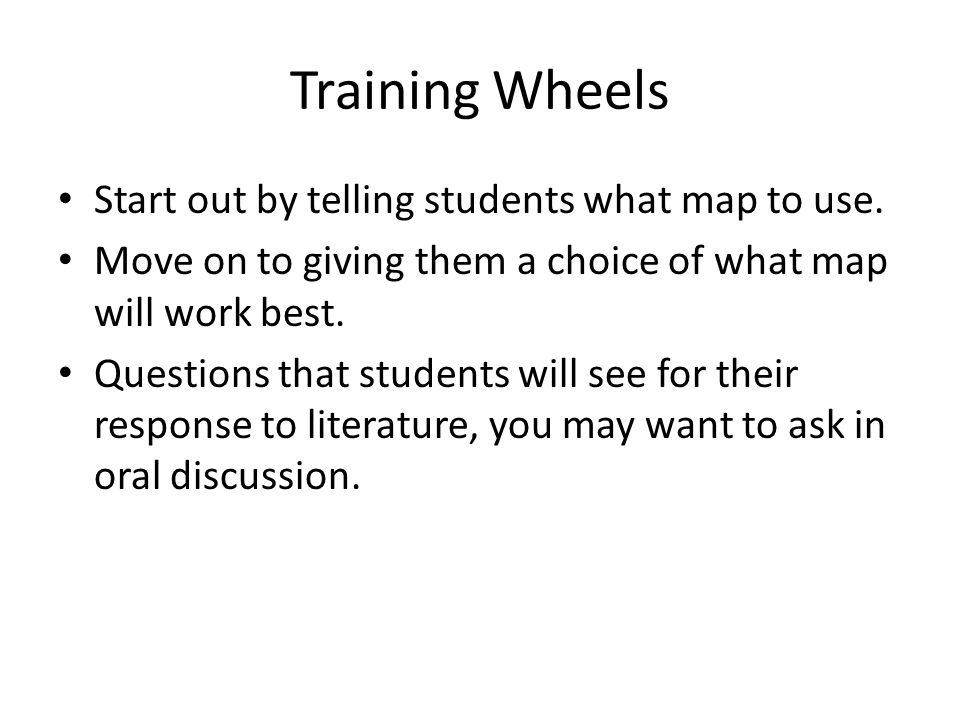 Training Wheels Start out by telling students what map to use.