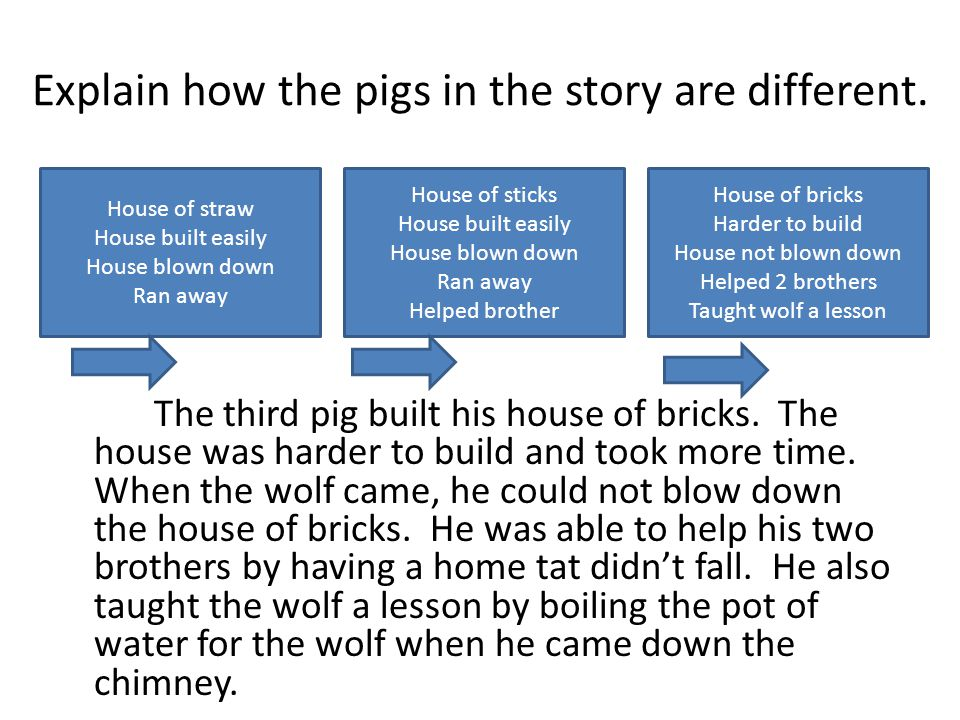 Explain how the pigs in the story are different. The third pig built his house of bricks.