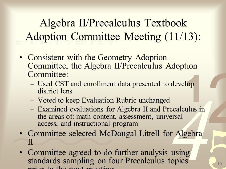 1 Executive Summary The Algebra II/Precalculus Textbook