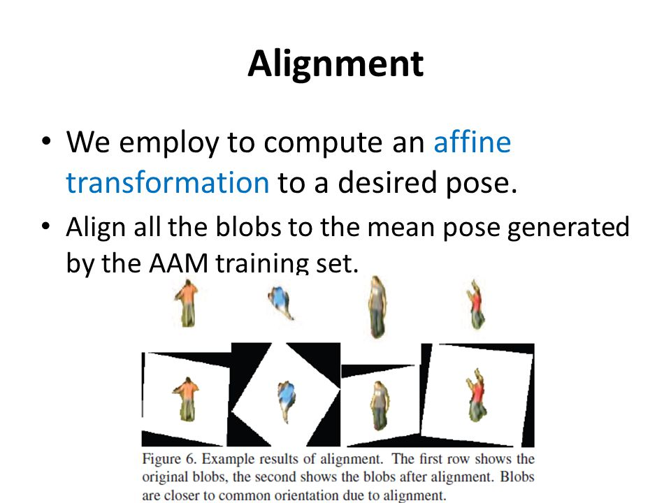 Alignment We employ to compute an affine transformation to a desired pose.