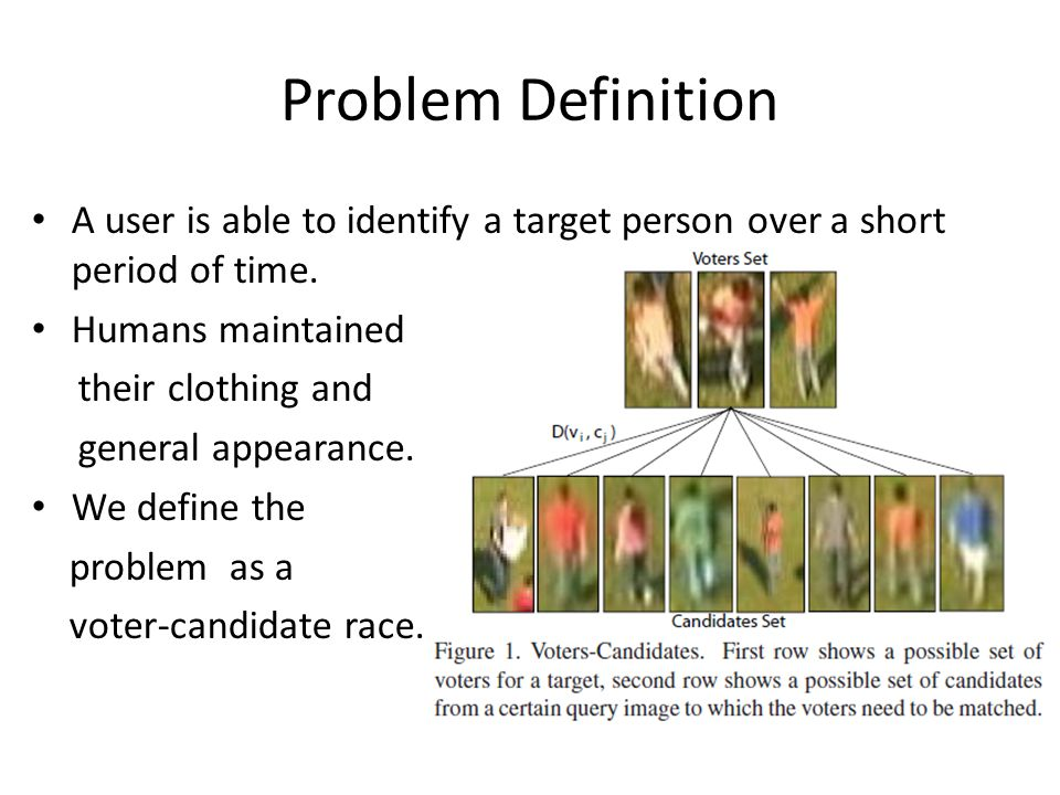 Problem Definition A user is able to identify a target person over a short period of time.