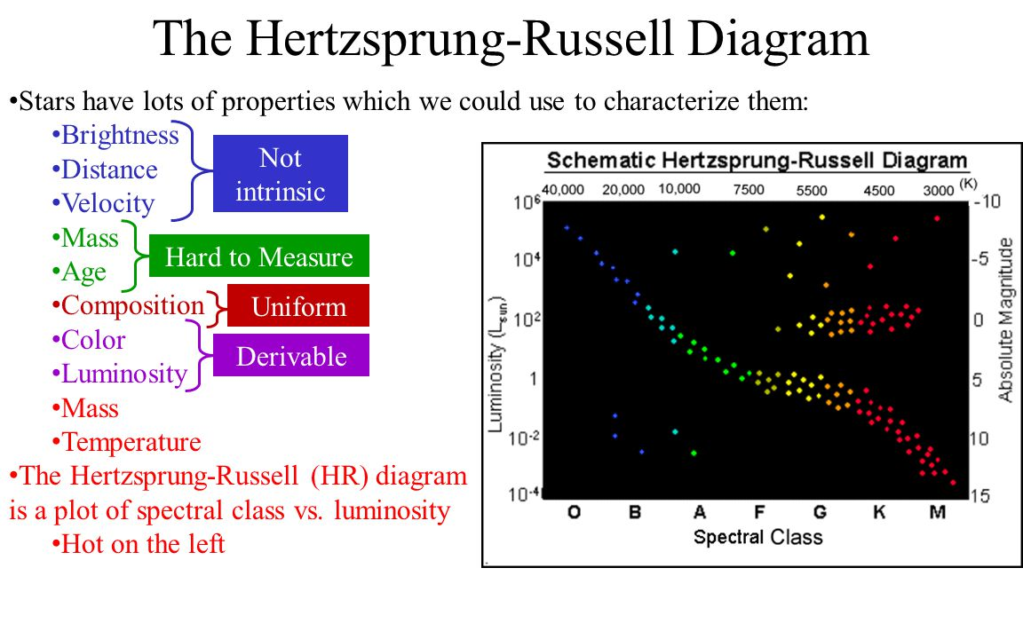 Spectral type astronomers use letters to describe the temperature the hertzsprung russell diagram stars have lots of properties which we could use to characterize ccuart Images