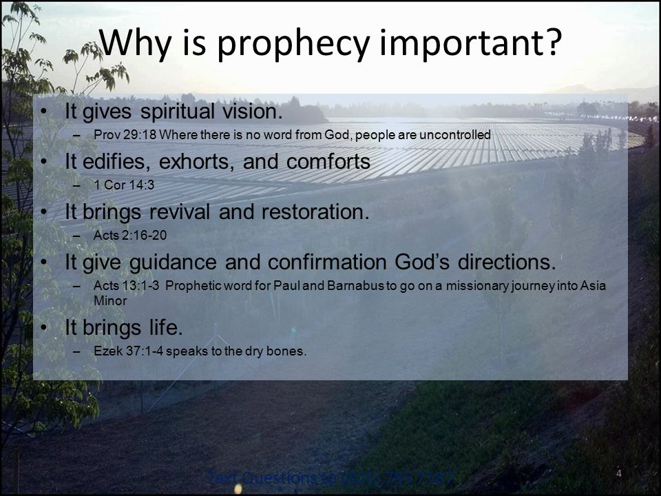 Why is prophecy important. It gives spiritual vision.
