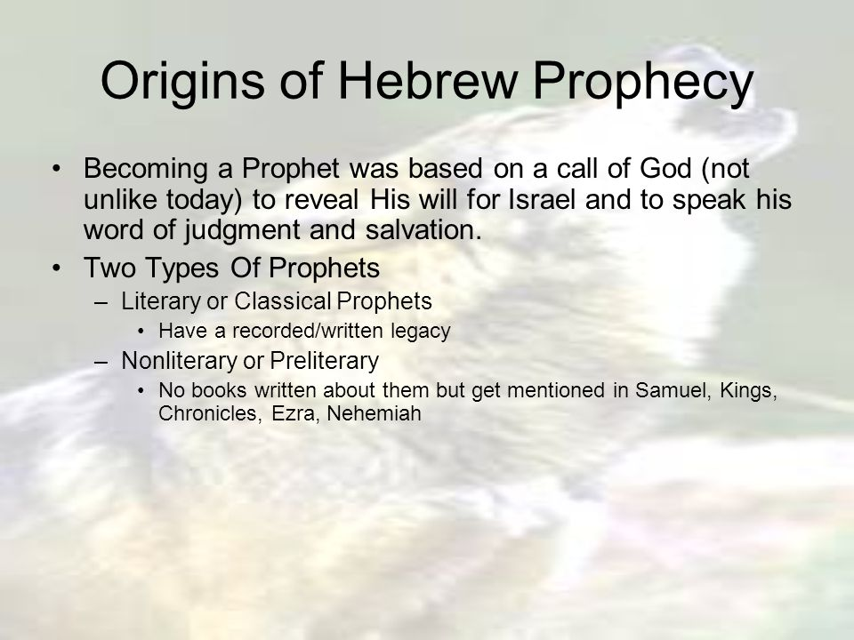 """Introduction To The Prophets """"In times of spiritual and"""