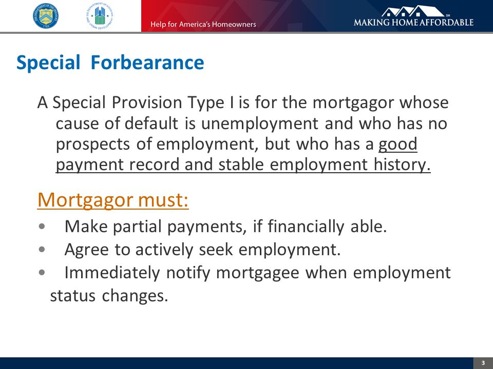 3 Special Forbearance A Special Provision Type I is for the mortgagor whose cause of default is unemployment and who has no prospects of employment, but who has a good payment record and stable employment history.