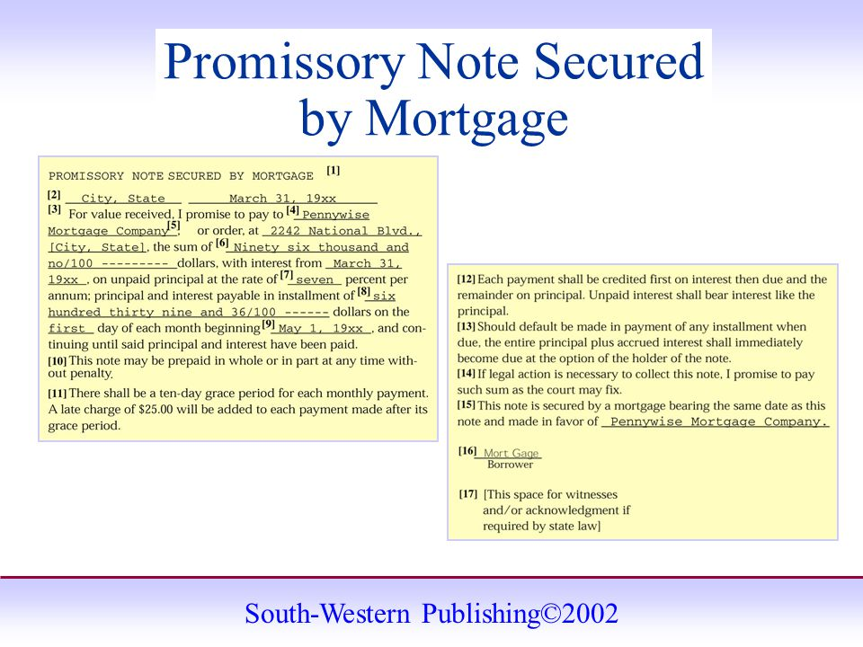 South-Western Publishing©2002 Promissory Note Secured by Mortgage