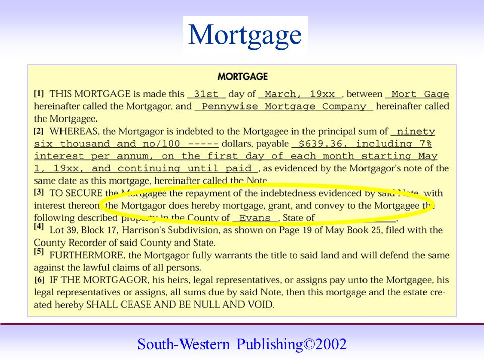 South-Western Publishing©2002 Mortgage
