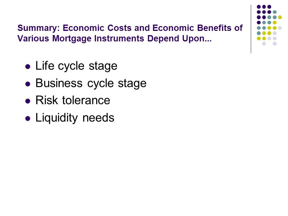 Summary: Economic Costs and Economic Benefits of Various Mortgage Instruments Depend Upon...