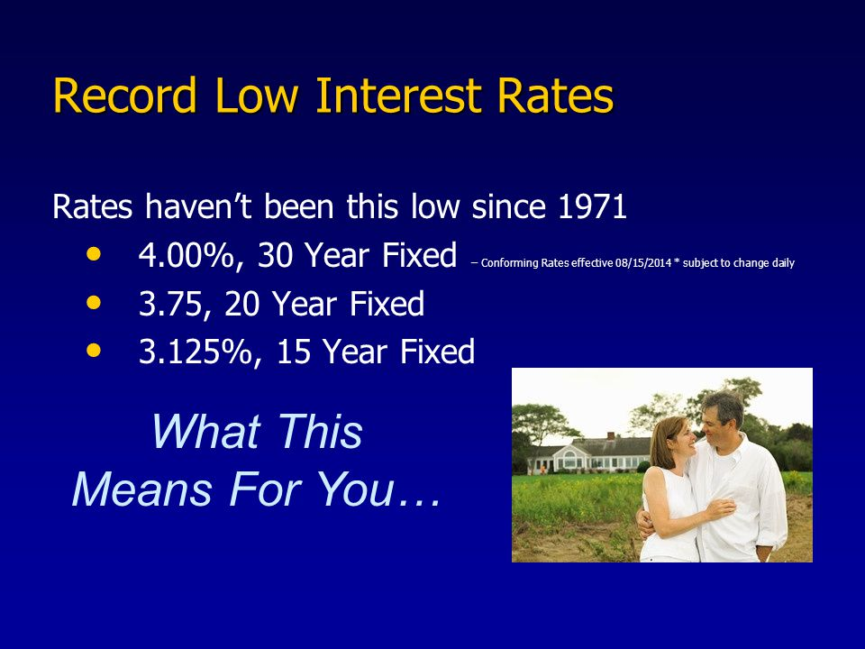 Record Low Interest Rates Rates haven't been this low since %, 30 Year Fixed – Conforming Rates effective 08/15/2014 * subject to change daily 3.75, 20 Year Fixed 3.125%, 15 Year Fixed What This Means For You…