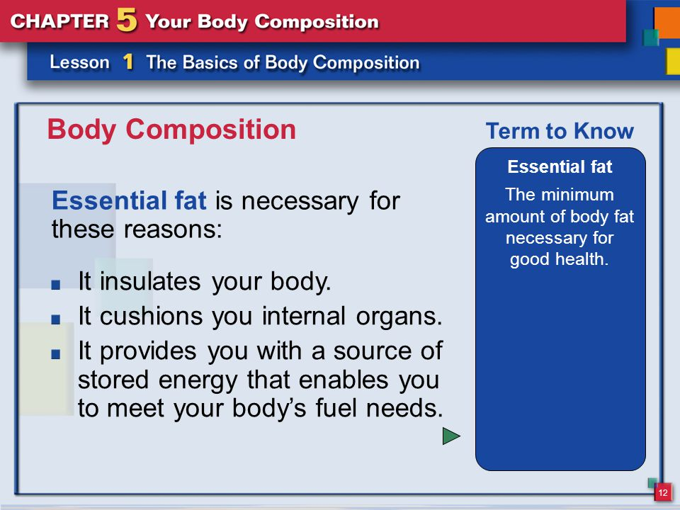 12 Body Composition Essential fat is necessary for these reasons: Essential fat The minimum amount of body fat necessary for good health.