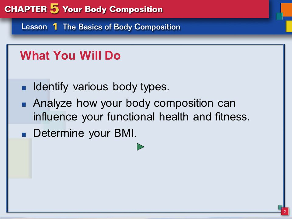 2 What You Will Do Identify various body types.