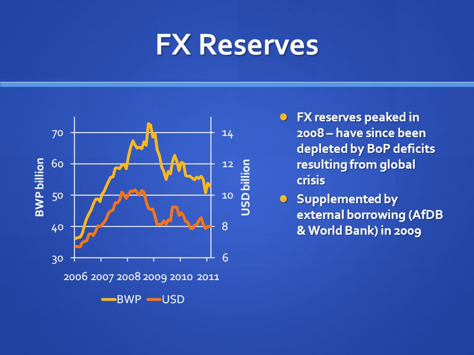 FX Reserves FX reserves peaked in 2008 – have since been depleted by BoP deficits resulting from global crisis Supplemented by external borrowing (AfDB & World Bank) in 2009
