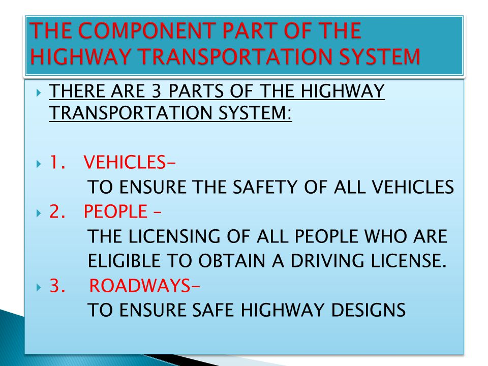  THERE ARE 3 PARTS OF THE HIGHWAY TRANSPORTATION SYSTEM:  1.